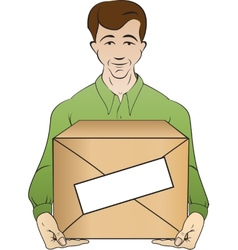 Courier holds box vector