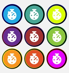 Timer stopwatch icon sign nine multi-colored round vector
