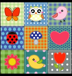 Background with heart flower mushrooms and birds vector