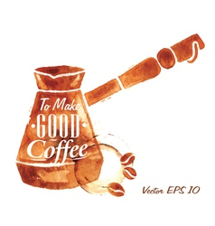 Traces coffee turkish coffee pot vector