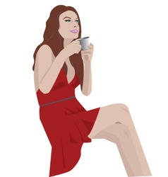 Gilr drinking coffee vector