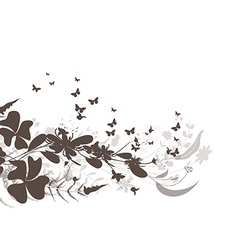 Flower and butterflies black background design vector