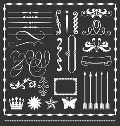 Decorative lines and border elements set vector