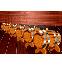 Cellar with wine barrels vector