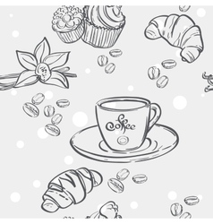 Seamless pattern with cup of coffee croissants and vector