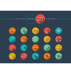 Arrow flat icons line style set vector