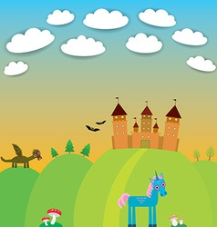 Card landscape with castle wizard cartoon dragon vector