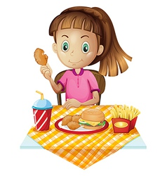 A girl eating at the fastfood store vector