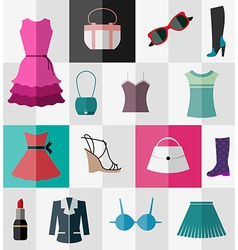 Set of flat womens clothes and accessories vector