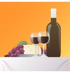 Wine and cheese still life vector