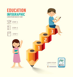 Infographic pencil with child idea education step vector
