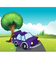 A violet car bumping the big tree at the road vector