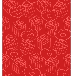 Seamless valentine pattern with gift boxes and vector