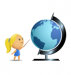 Schoolgirl and globe vector