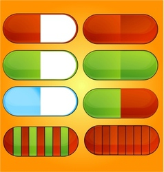 Colored and shiny medic pills set vector