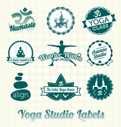 Yoga class labels and icons vector