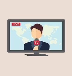 Professional news reporter in live broadcasting vector