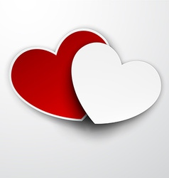 Paper red and white hearts vector