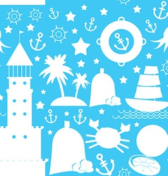 Seamless pattern white sea icon on blue background vector