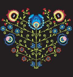 Polish folk floral pattern in heart shape on black vector