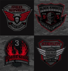 Stealth pilot military patches vector