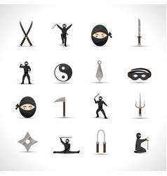 Ninja icons set vector
