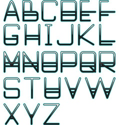 Blue glow alphabet vector