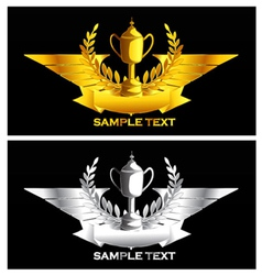 Gold and silver vintage emblem vector