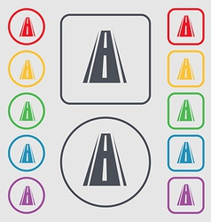Road icon sign symbol on the round and square vector