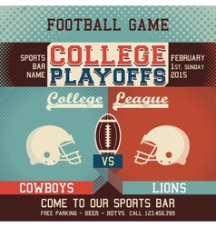 College playoffs football game vector