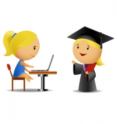 Students computer and diploma vector
