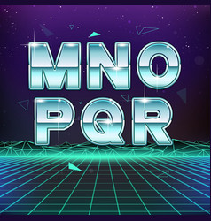 80s retro sci-fi font from m to r vector