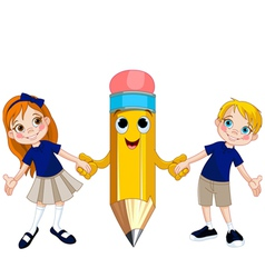 Students and pencil vector