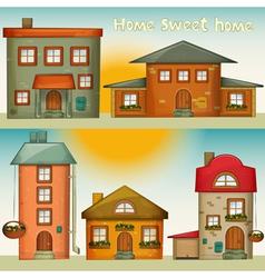 Cartoon houses set vector
