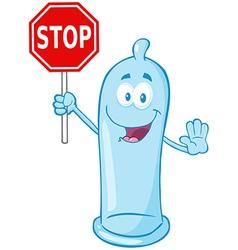Condom holding a stop sign vector