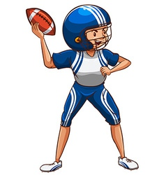 An american football player wearing a blue uniform vector