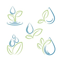 Water drop and leaf symbol set vector