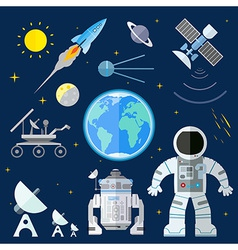 Set of flat space icons of planet earth su vector