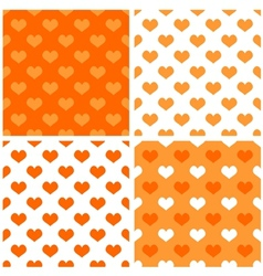 Seamless orange white background set with hearts vector