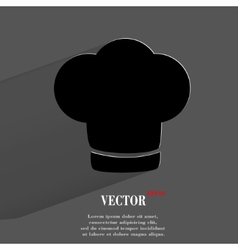 Chef cap cooking flat modern web button with long vector