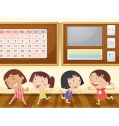 Girls in classroom vector