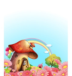 A mushroom house above the hill with a garden vector