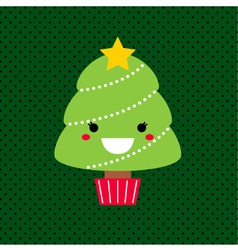 Adorable cartoon christmas kawaii tree vector