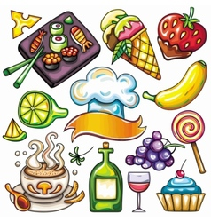 Ready-to-eat food icons vector