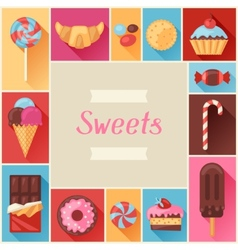 Frame with colorful various candy sweets and cakes vector