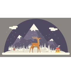 Deer rudolph winter snow countryside landscape vector