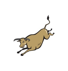 Texas longhorn bull jumping cartoon vector
