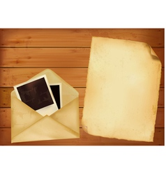 Old envelope with photos and old paper vector