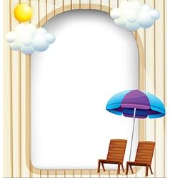 An empty entrance template with a beach umbrella vector