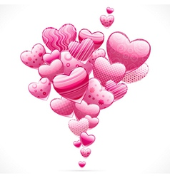Abstract flying hearts image vector